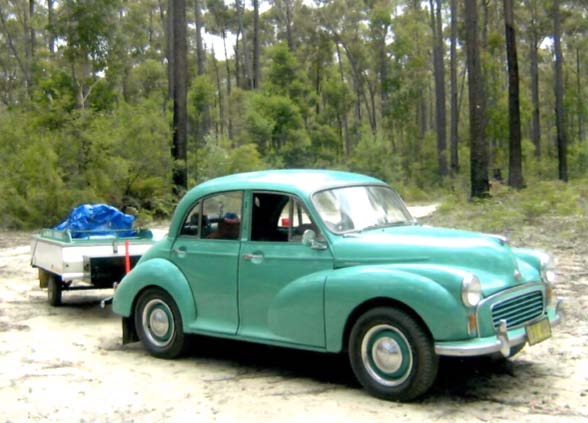 1957 morris minor 1000 with camper roo trailer